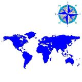Blue world map with wind rose Royalty Free Stock Photo