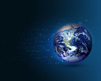 Blue world moving concept on the digital technology background Royalty Free Stock Photography