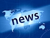 Blue world news concept. Dark blue news press illustration concept world map Stock Photo