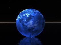 Blue world in night. Blue world over ocean and night background. 3D rendered scene Stock Photography