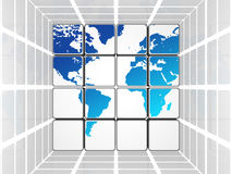Blue world in white grey cubes. 3d white and grey cubes with blue world map Royalty Free Stock Photos