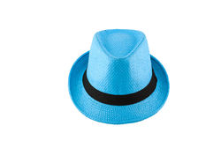 Blue woven hat Stock Photography