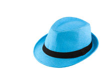 Blue woven hat Royalty Free Stock Photo