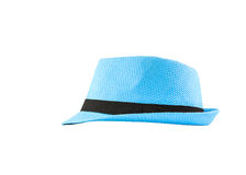 Blue woven hat Royalty Free Stock Photos