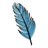 Blue writing feather Stock Images