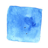 Blue wry watercolor square with stains. Abstract background. Element for your design Stock Images