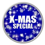 Blue X-mas Special Button Royalty Free Stock Image