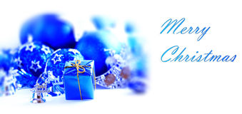 Blue xmas decoration. And gift with copy space Royalty Free Stock Photography