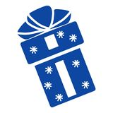 Blue xmas gift icon, simple style royalty free illustration