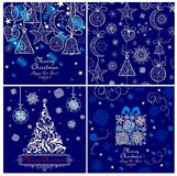 Blue xmas greeting cards Royalty Free Stock Image