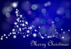 Blue_Xmas_tree. Blue christmas tree with stars and snow Stock Image