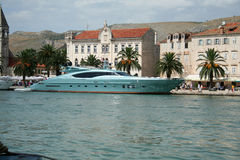 Blue yacht. Moored in Trogir Royalty Free Stock Photo