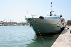 Blue yacht. Moored in Trogir Royalty Free Stock Photos