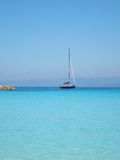 Blue Yacht, Anti-Paxos, Greece. A blue yacht off Anti-Paxos, Greece royalty free stock photo