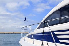 Blue yacht side view Formentera port Balearic Stock Photos