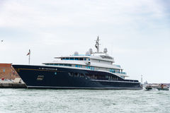 Blue Yacht at venice. Large luxury motor blue yacht docked in Venice, Italy Stock Photos
