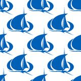 Blue yachts or sailboat seamless pattern Royalty Free Stock Photos