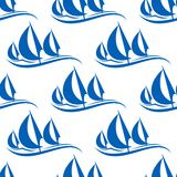 Blue yachts seamless pattern. On white background for regatta or any yachting sports design Royalty Free Stock Images