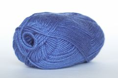 Blue yarn. On white fone Royalty Free Stock Image