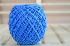 Blue yarn for crocheting Royalty Free Stock Images