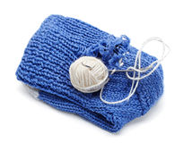Blue yarn with Stock Image