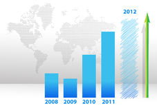 Blue years bar chart illustration design. With map background Stock Image