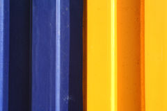 Blue and yellow. Corrugated metal Stock Images