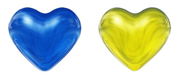 Blue and yellow 3D hearts Stock Photo
