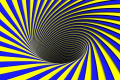 Blue and yellow abstract background black hole. 3d illustration Royalty Free Stock Photos