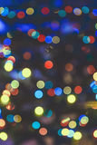 Blue yellow abstract Christmas lights fireworks Royalty Free Stock Photo