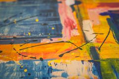 Blue and Yellow Abstract Painting stock photography