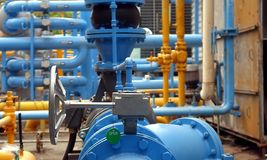 Blue and Yellow Air Conditioning Cooling Pipes Stock Photo