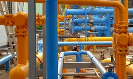 Blue and Yellow Air Cooling Pipes Royalty Free Stock Image