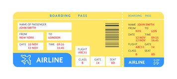Blue yellow air ticket by plane with text. Concept of travelling check with details or boarding pass reservation. flat style trend modern graphic design Royalty Free Stock Photos