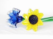 Blue and Yellow Art Glass Flowers Stock Images