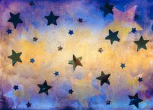 Blue and yellow background with stars. Textured bright colored blue and yellow background with foil stars decoration stock image
