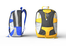 Blue and yellow backpacks. Backpacks on white background, image shot in ultra high resolution Stock Photography