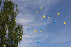 Blue and yellow balloons in the sky. Celebration of Swedens national day stock photo
