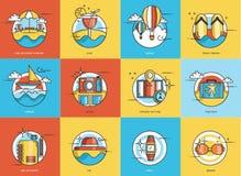 Vector travel icon set. Design stock illustration