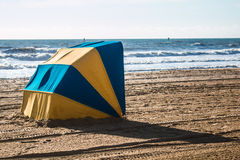 Blue and Yellow Beach Cabanas Stock Photography
