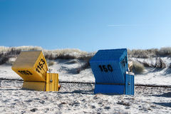 Blue and yellow beach chair Royalty Free Stock Photos
