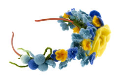 Blue and yellow beautiful roses made of wool Stock Photo
