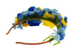 Blue and yellow beautiful roses made of wool Royalty Free Stock Photo