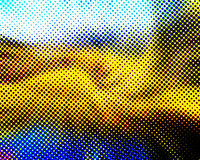 Blue Yellow Black and White Halftone Stock Images