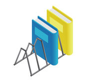 Blue and yellow books on shelf Royalty Free Stock Images