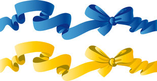Blue and Yellow Bow Royalty Free Stock Image