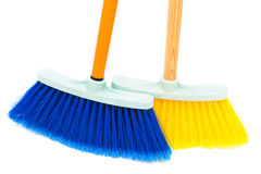Blue and yellow broom Stock Photo
