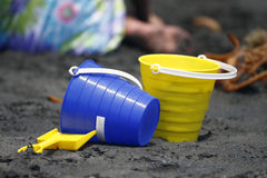 Blue and Yellow Buckets Royalty Free Stock Photos