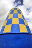 Blue & Yellow Buoy. A Blue & Yellow Buoy, once used to warn shipping, now used as an ornament at Sunderland Marina, upon the River Wear at Sunderland, Tyne & Stock Photography