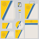 Blue yellow business set with striped design Royalty Free Stock Images